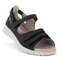 New Feet Sort Sandal med Hælkappe