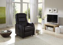 Hvilestol med rejs-Op hjælp, sort læder