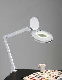 Lup og bordlampe med klipsholder